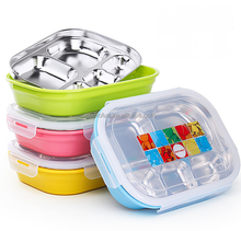 304 Stainless steel 5 compartments kids bento lunch box with lock