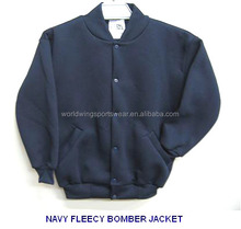 Childrens custom made 65% polyester 35% plain cotton fleece navy school bomber jacket