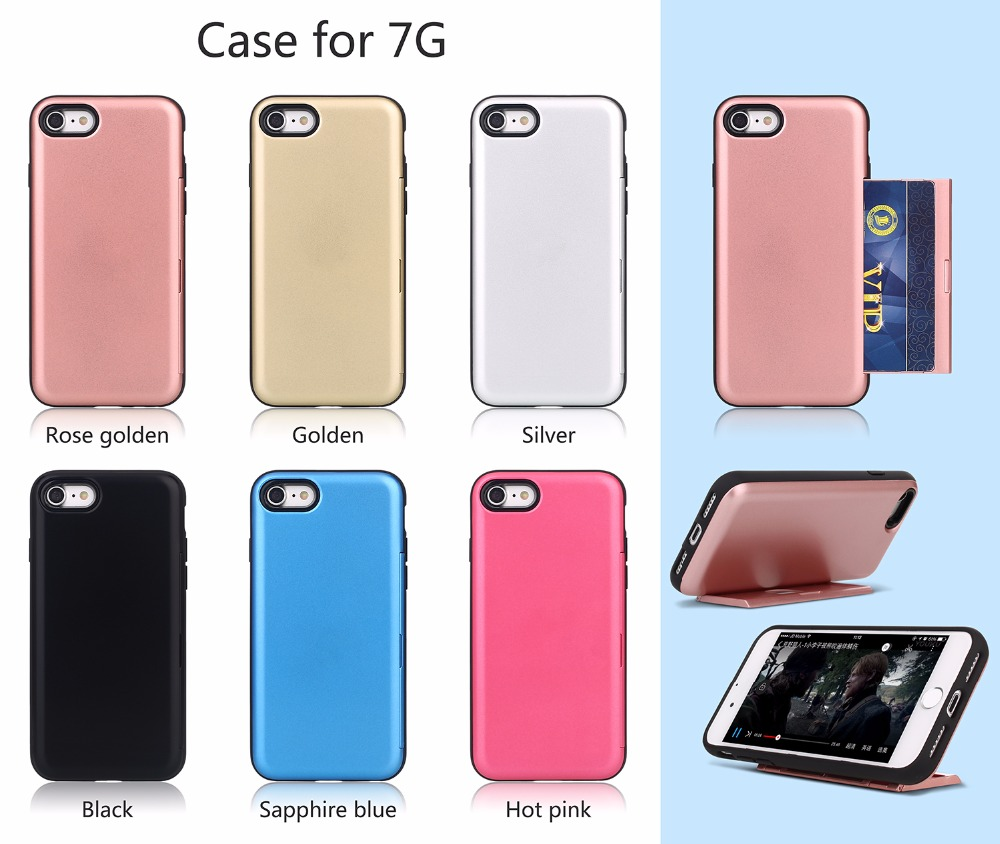 Card slot holder cover kickstand credit card 2 in 1 PC+soft TPU 360 protective cell phone case for iphone 7 7 plus s8 s8plus