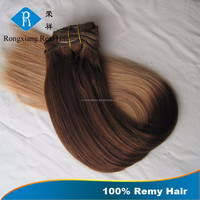Cheap Wholesale 100% Remy Virgin Human ombre hair extension clip in