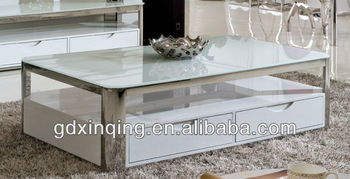 modern design white tempered glass top coffee table,stainless steel