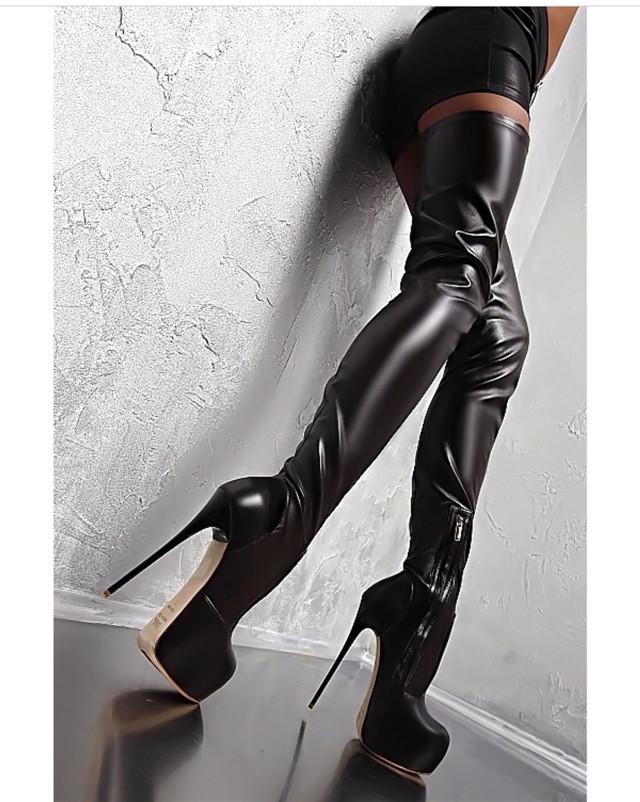 Sexy <strong>Boots</strong> Fashion Platform Round Toe Black Women Over Knee High Heel <strong>Boots</strong>