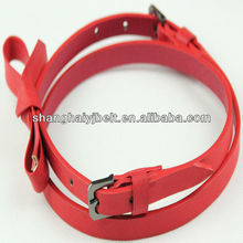 Fashion woman bowknot belt PU belt with two alloy buckle
