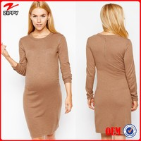 Wholesale New Fashion Long Sleeve Knitted Bodycon Maternity Dress