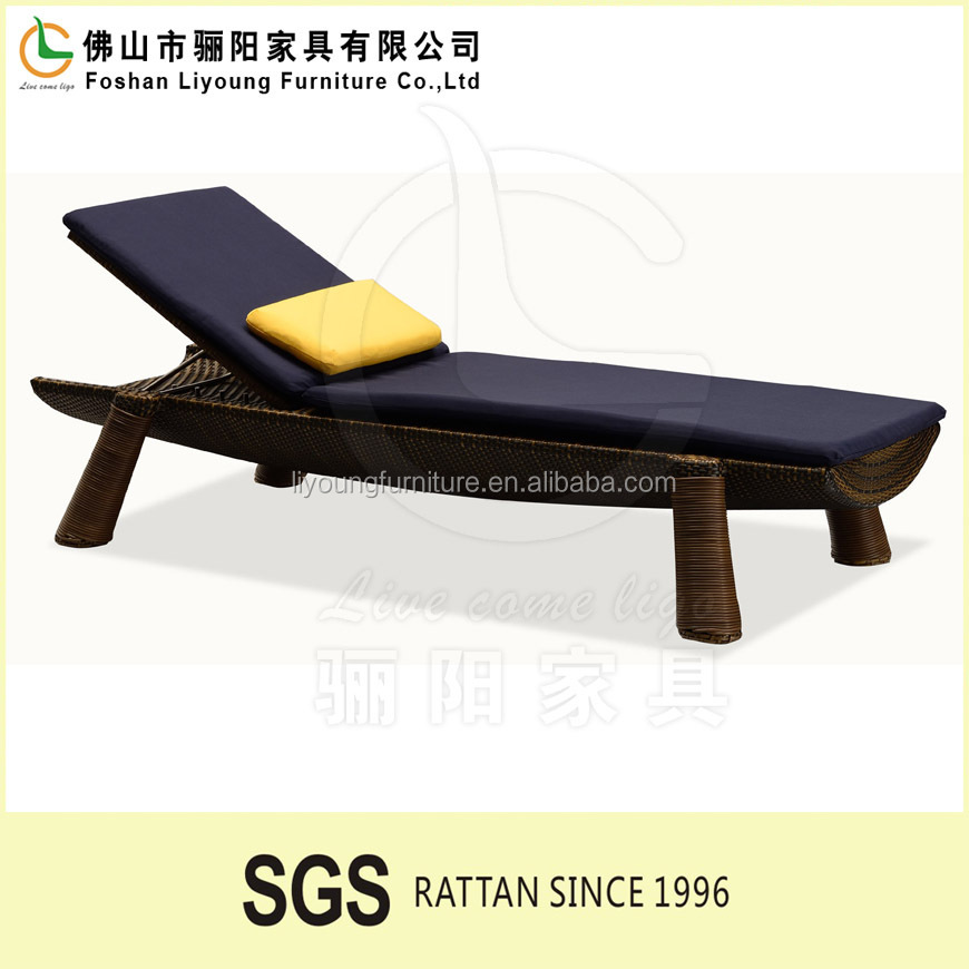 2016 All weather PE rattan wooden color chaise lounge wooden sofa set wooden sun lounger