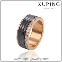 Xuping white ceramic raschig ring 2014 latest design gold ring for men and women