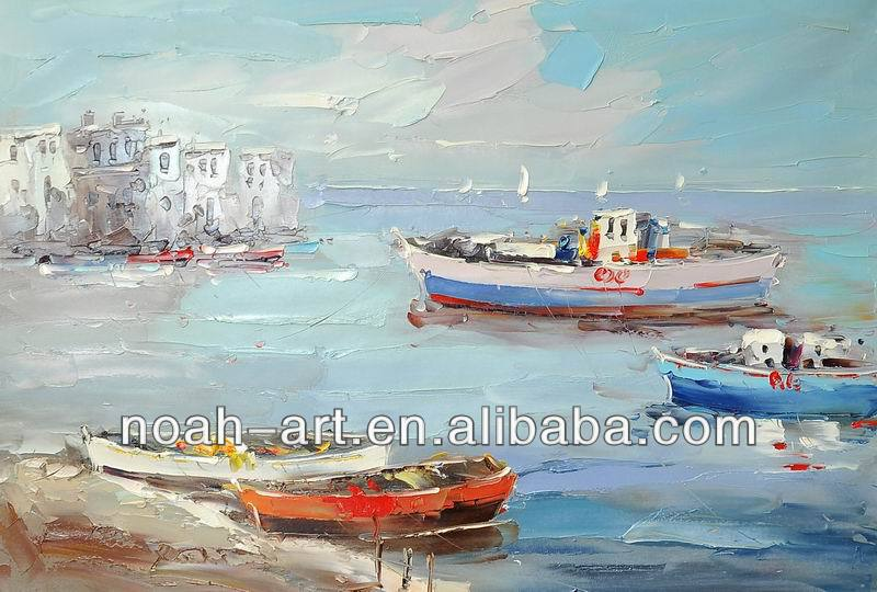 bathroom wall art palette knife seascape canvas oil painting boats