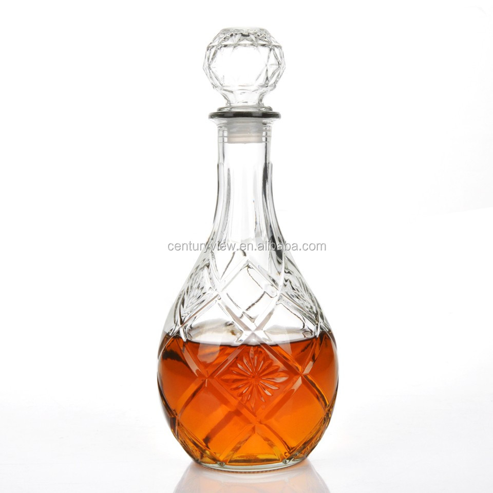 Glass Material Engraved Decanters 750ml Glass Bottle For Wine