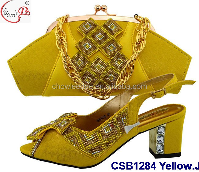 CSB1284 Yellow matching Italian Shoe and Bag Sets Designer wedding shoes and bag set wholesale from china manufacturers