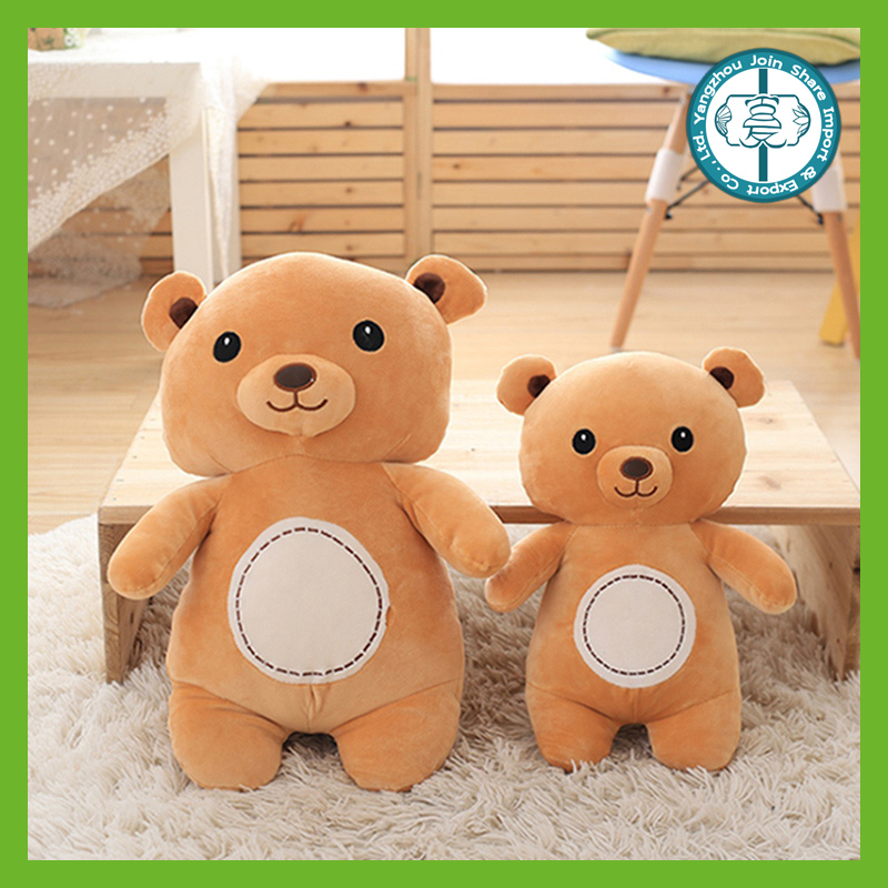 High quality stuffed toy plush brown bear with white belly