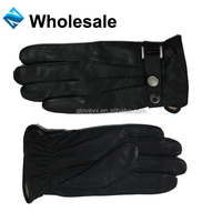 Mens black classical car driving gloves, sheepskin