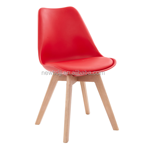 Modern Restaurant Leisure Dining Plastic Chair With Wooden Leg Factory Price