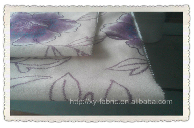 100%polyester transfer printed velboa bond T/C for sofa
