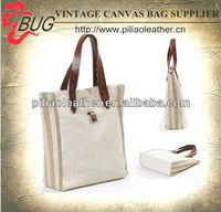 2013 hot selling cotton canvas handbag with leather trimming/ heavy eco girls designer handbags shopping bag wholesale