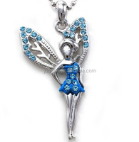 Light Blue Angel Fairy Wings Pendant Necklace Teens Girls Jewelry