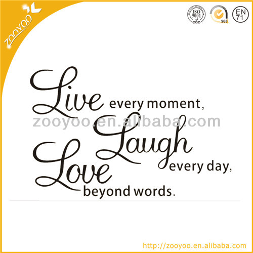 ZooYoo Vinyl Quote Removable Wall Decals Live Laugh Love Wall Art
