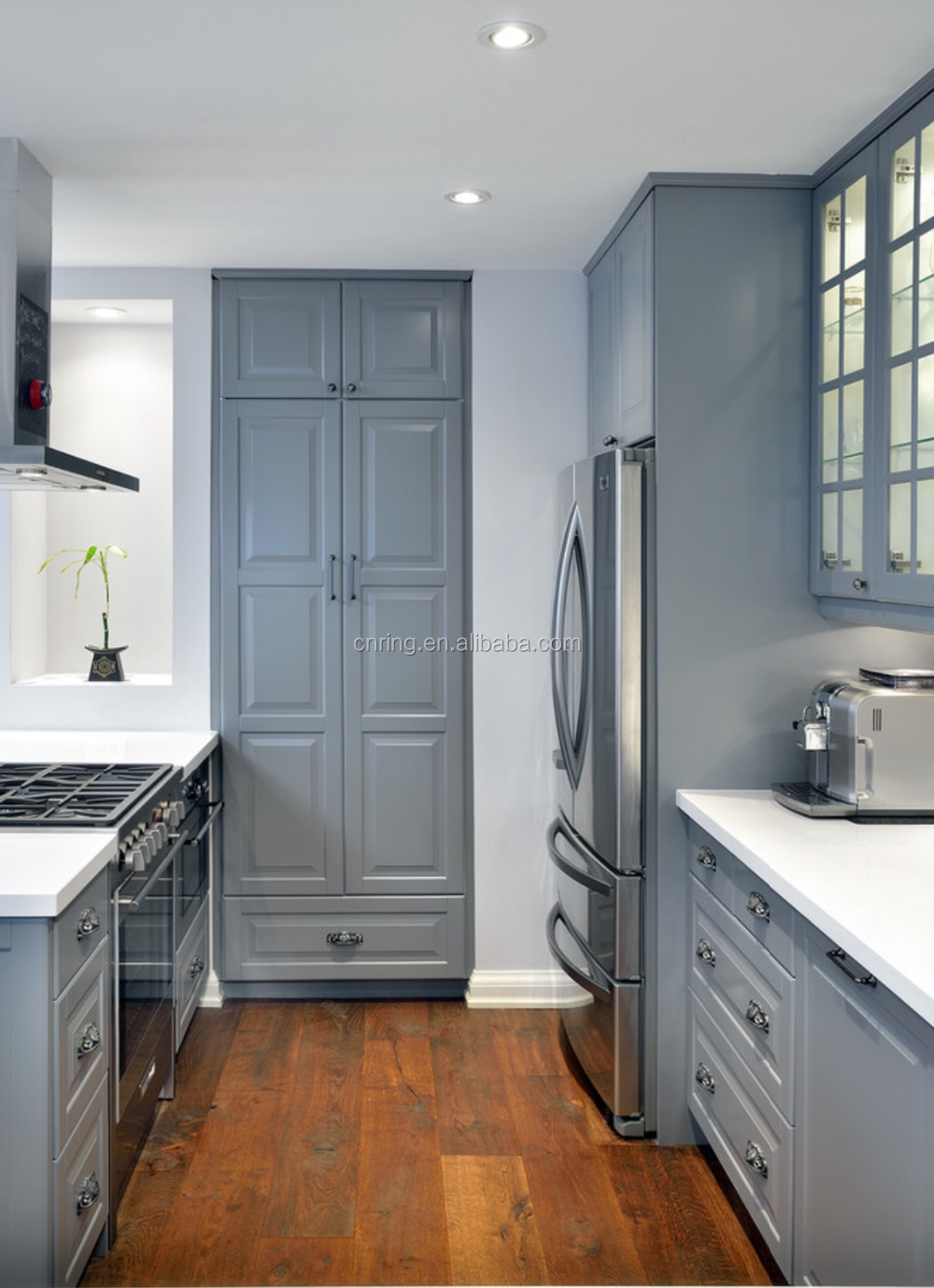 Modern Blue Lacquer Finish Kitchen Cabinets With French Glass Door