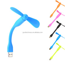 wholesale customized promotion logo 5V 1W TPE mini bended flexible micro usb fan for iphone and android mobile phone