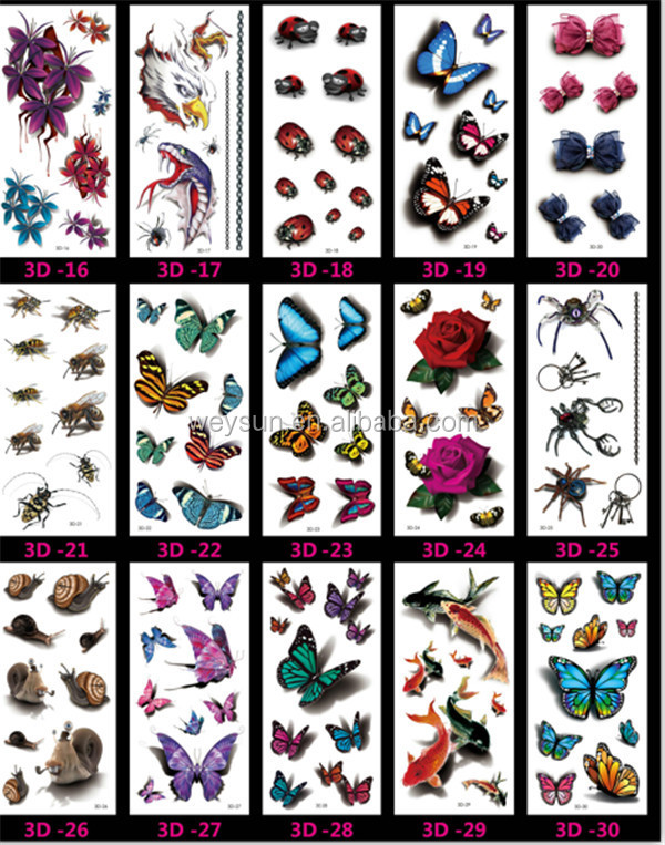 Fashion Men And Women Tattoo Lovely butterfly diamond Bird Owl Body Art Flash Waterproof Temporary Tattoos Stickers