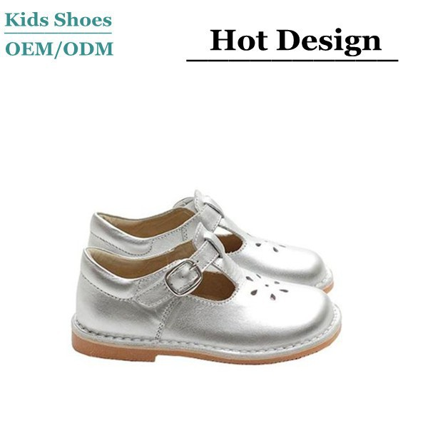 2015 Fashion T Strap Silver Buckle Flower Little Girl Low Cut Dress Shoes
