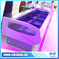 open top convenience store fresh meat counter table display refrigerator