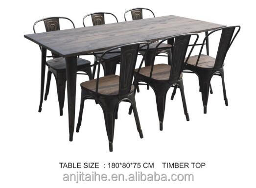 dining room furniture Square metal base/solid wood metal legs dining table