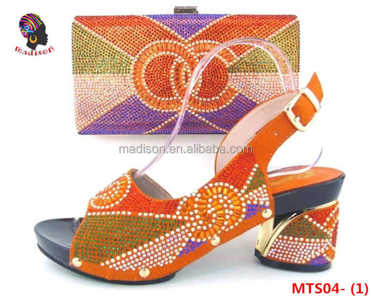 Gzmadison Beautiful Multicolor Italian Low Heel Shoes And Bags With Stones To Match Women/MTS04-1
