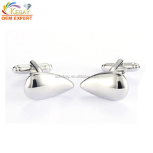 Shiny water drop shaped blank platinum cufflinks for men