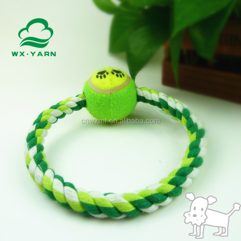 Eco-friendly circle solid braided cotton chew rope dog toy