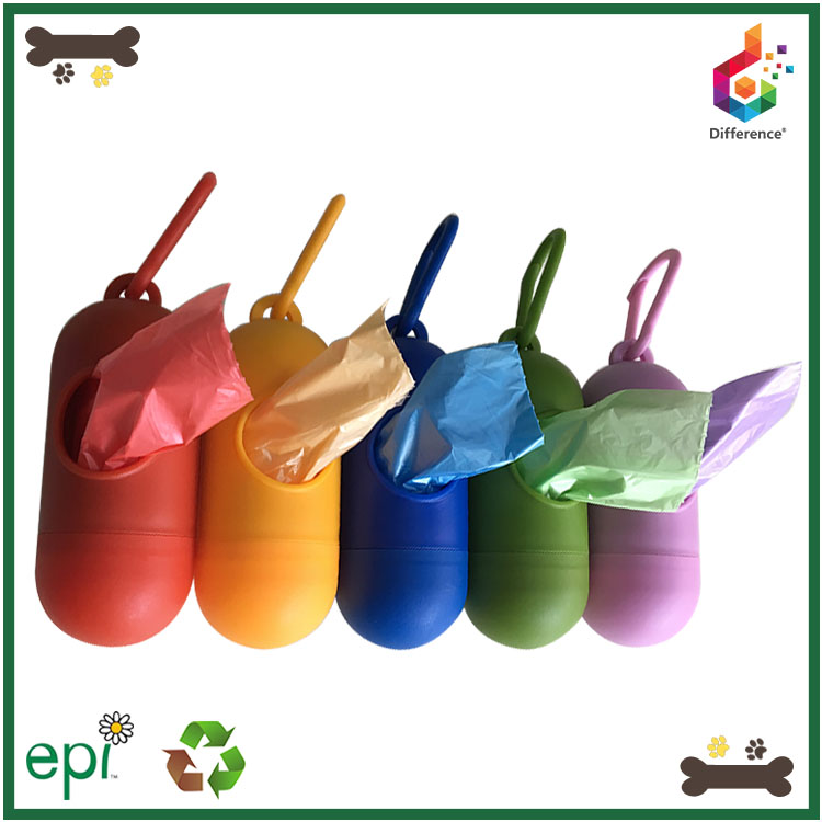 Popular pill shaped portable pet waste bag dispenser for leash