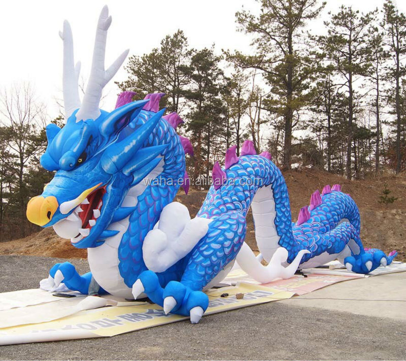 2017 hot selling blue color advertising outdoor giant inflatable dragon