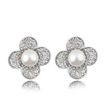 2016 hot sale stainless steel flower stud earrings fashion women mother pearl earrings jewelry allergy free