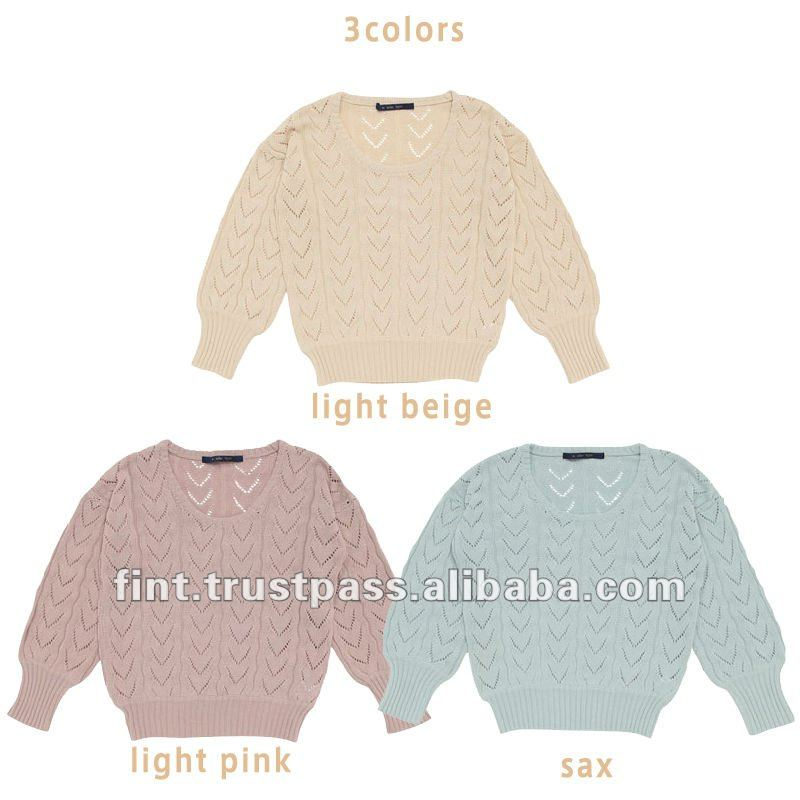 high fashion Openwork dolman knitted casual sweater