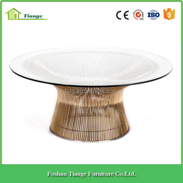 High quality gold stainless steel wire frame platner round coffee table