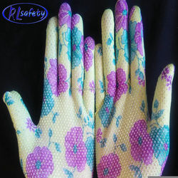 Single Side mini Pvc dotted Colored nylon Hand Gloves for Warehousing
