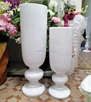 120cm Contemporary Footed Polystone Big Event Centrepieces Foor Vase , White PU