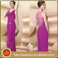 VL171 Fuchsia Long Sleeveless Mother of The Bride Dresses Slit Side Vestido Para Mae da Noiva 2015