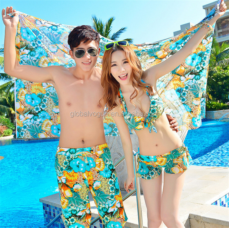 Sexy fashion couple beachwear beach summer bikini three-piece couple swimsuit+xxx men's beach hot pants