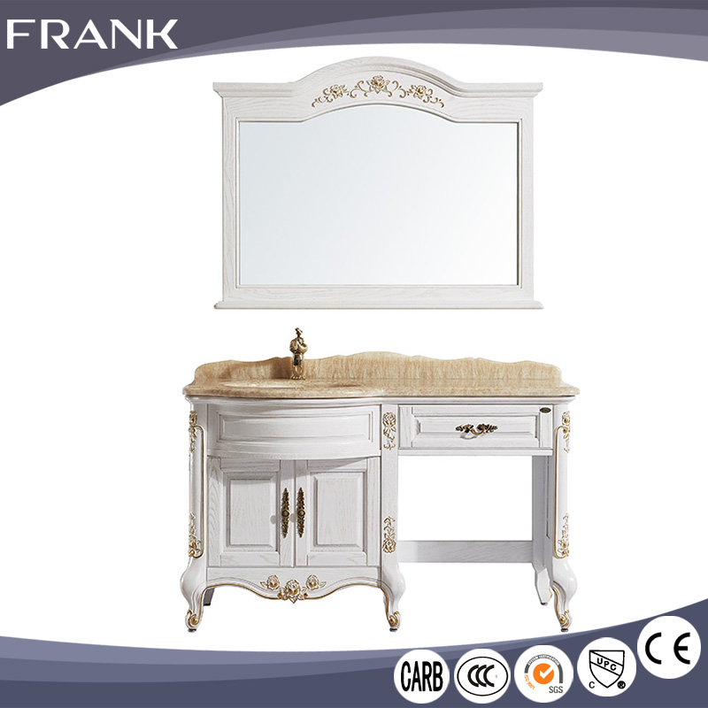 Frank Bulk discount luxurious imported natural marble import solid wood french antique bathroom vanity cabinet