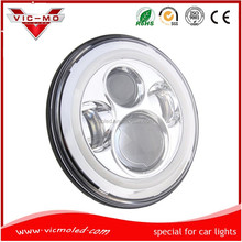 "wholesale 7"" halo 45w round high low beam led motorcycle projector headlight H4 H13 for jeep wrangler with angel eyes"