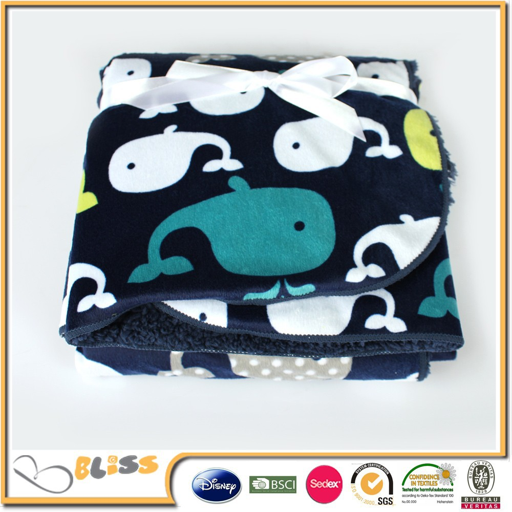shaoxing supplier 10 years experience micro plush whale print blanket for <strong>baby</strong>