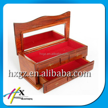 antique style wooden box for jewelry storage small wooden cabinet drawer packaging box with mirror
