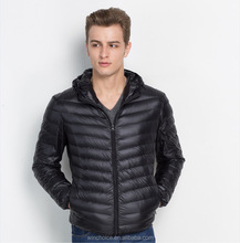 Hot sale Fashion European Style Foldable Ultra Light Man Down Jacket For Winter with hat