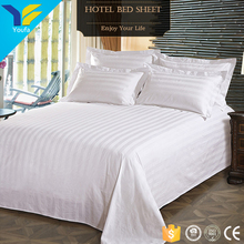 Excellent stitch 300T white satin stripe hotel bedsheets bed sheet sets 100% cotton bed cover sheet