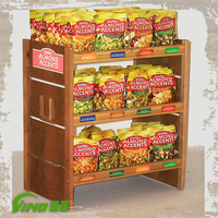 Wooden Snack Display Stand , retail store wood display stand , supermarket fruit and vegetable display rack