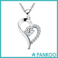 "Fashion 925 Jewelry ""You Are the Only One in My Heart"" Sterling Silver Pendant Necklace, Heart Shape Charm CZ Stone Pendant Neck"