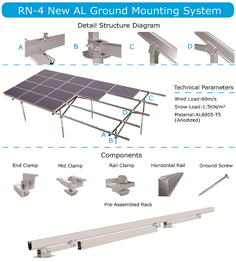 solar ground mounting system / ground screw pile solar /  solar panel rack for 20 panels
