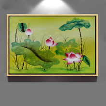 Beautiful handmade modern pop art lotus flower acrylic oil painting on canvas