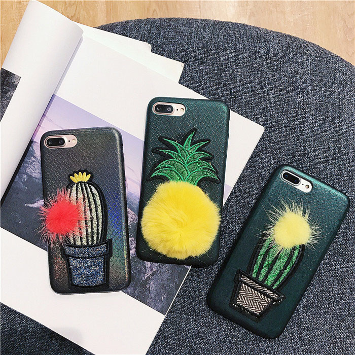 Unique Fashion Cactus Pineapple Cross Stitch Embroidery PU Leather Phone Case for iPhone x 8 7 6 plus