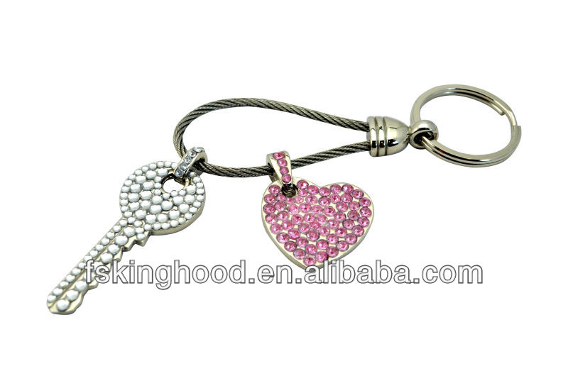 K00018A Metal handicraft key chain with acrylic gem